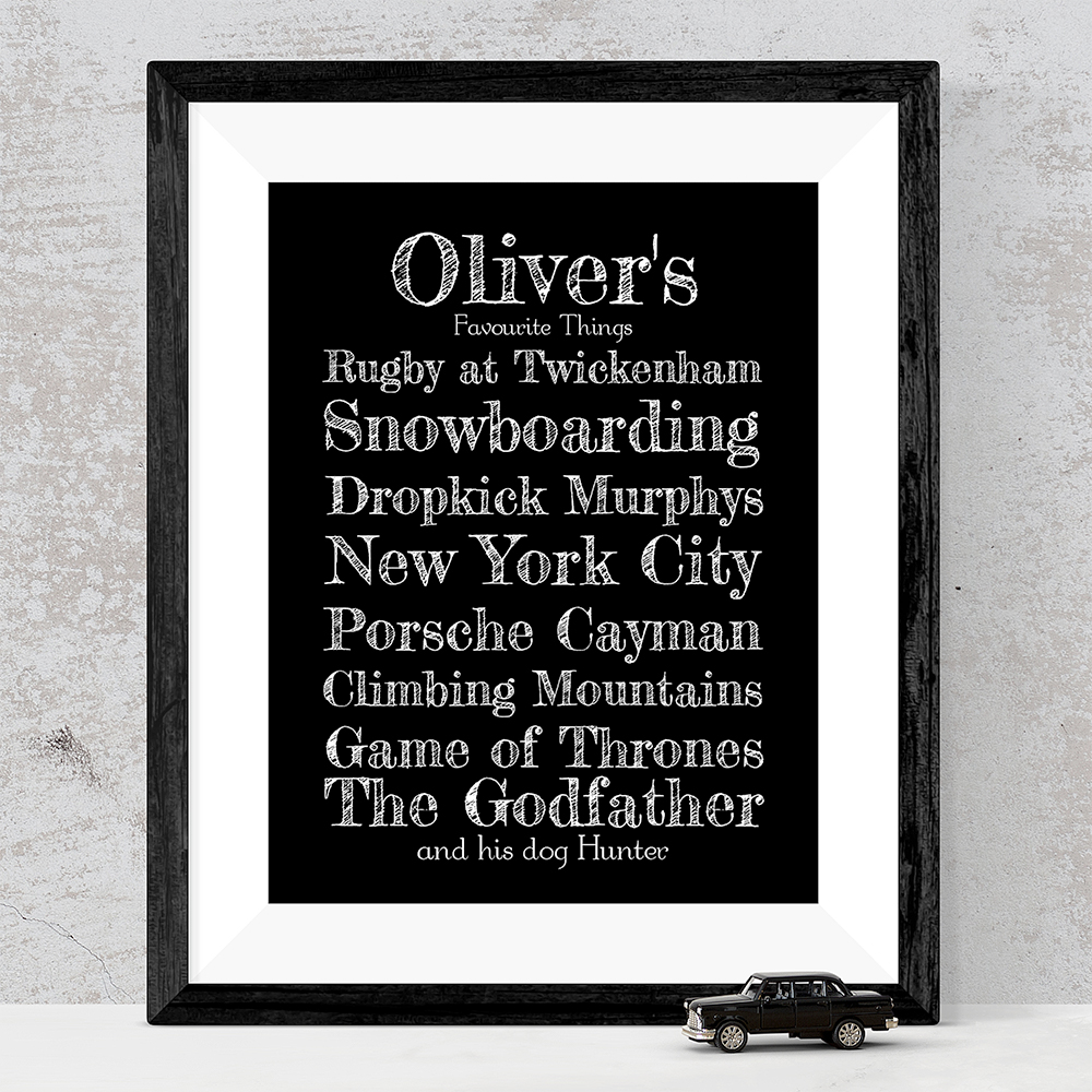 Hand drawn favourite things framed print with bespoke footer